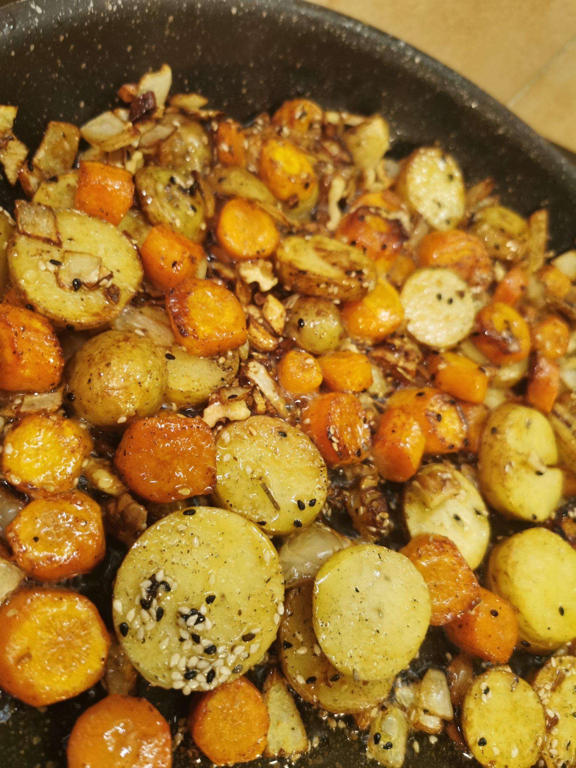 Sauté de légumes au miel et sésame